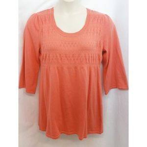 REQUIREMENTS CORAL COTTON BLEND KNIT SWEATER
